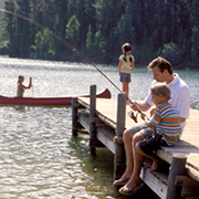 Family recreation at lake