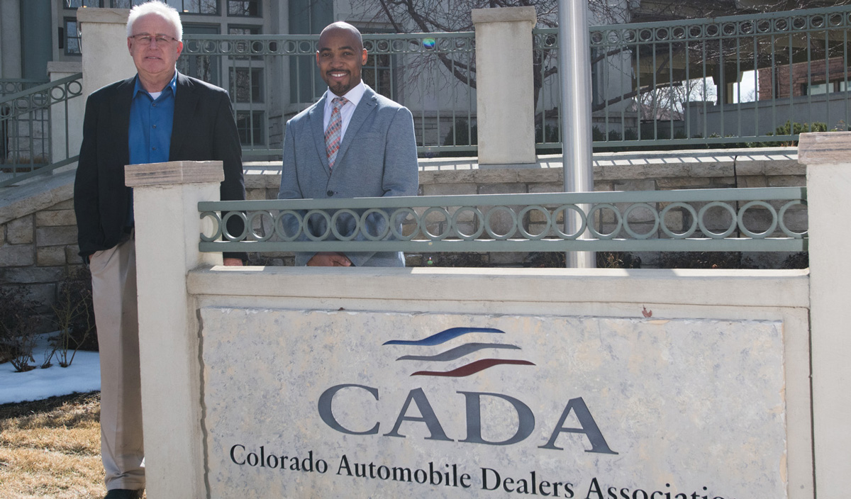 Colorado Automobile Dealers Association President/CEO Tim Jackson works to represent more than 200 members statewide, while George Billings, director of the Clear Air Foundation, works with CADA to get high-pollution cars off the road.